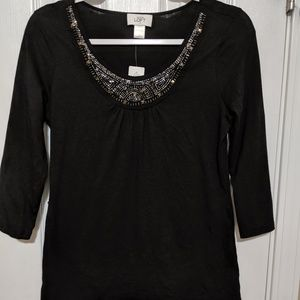 Ann Taylor Loft Black top with embellishments NWT